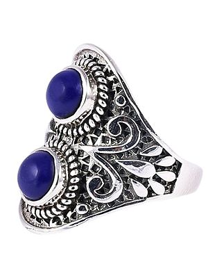 Designer Lapis Lazuli Ring with Sterling Silver