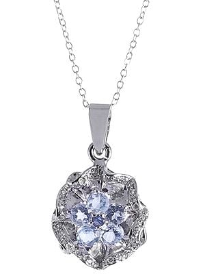 Sterling Silver Cubic Zirconia Pendant Studded with Gemstones