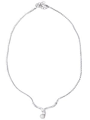 Sterling Silver Necklace with Pearl Gemstone and Cubic Zirconia