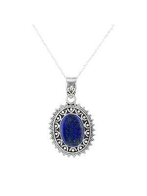 Sterling Silver Pendant with Lapis Lazuli Stone