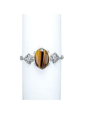 Stylized Tiger-Eye Bracelet with Sterling Silver Band