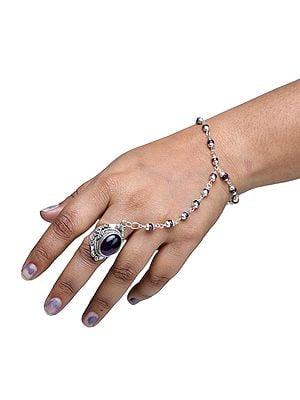 Designer Amethyst and Sterling Silver Slave Bracelet