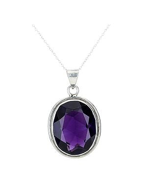 Sterling Silver Pendant with Faceted Purple Stone