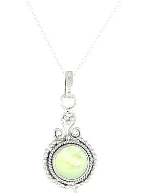 Sterling Silver Pendant with Peru-Chalcedony Stone