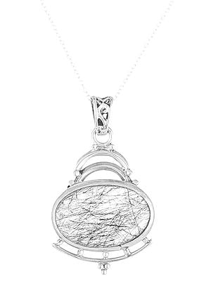 Sterling Silver Pendant with Oval Shape Rutilated Stone