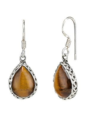 Tiger-Eye Studded Sterling Silver Earrings