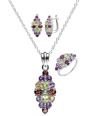 Faceted Pendant, Earrings and Ring Set