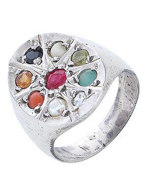 Navaratna Sterling Silver Ring