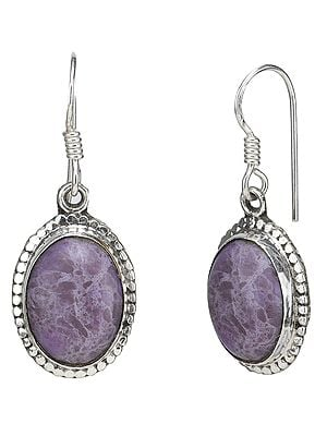 Sterling Silver Earrings Studded with Agate Stone