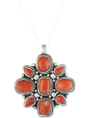 Studded Multi Coral Pendant