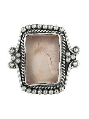 Rose Quartz Ring in a Designer Sterling Silver Frame