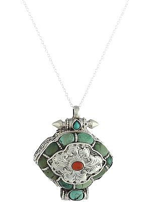 Filigree Box Pendant with Turquoise and Coral