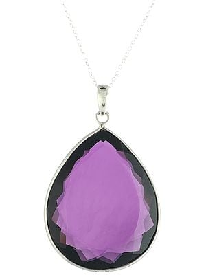 Pear/Drop-Cut Big Faceted Amethyst Sterling Silver Pendant