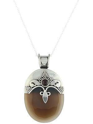 Buddha-Head Smoky Quartz Sterling Silver Pendant with Garnet Gemstone