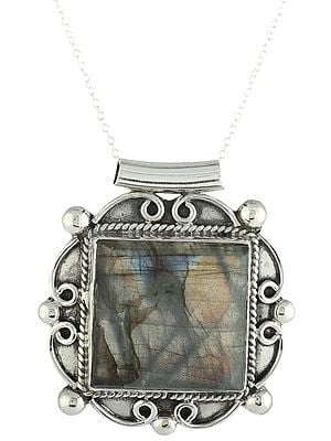 Sterling Silver Pendant with Large Labradorite Gemstone