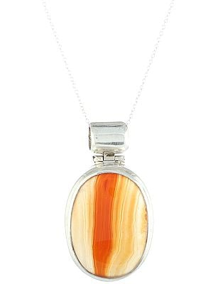 Sterling Silver Pendant with Large Carnelian Gemstone