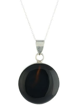 Sterling Silver Round Pendant with Black-Onyx Gemstone