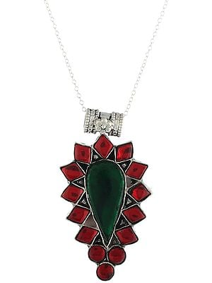 Sterling Silver Pendant with Red and Green Colored Glass