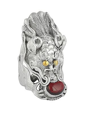 Tibetan Dragon Sterling Silver Ring with Garnet Gemstone