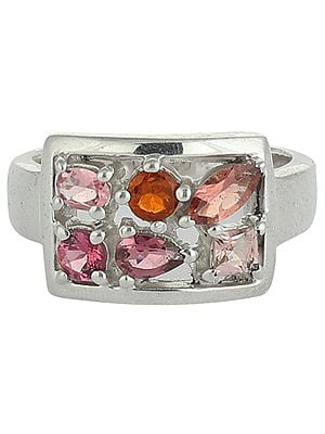 Sterling Silver Multi-Stone Ring with Faceted Rose-Quartz, Amethyst and Carneelian Gemstones