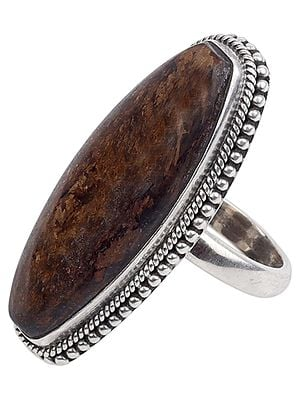 Long Agate Ring With Sterling Silver