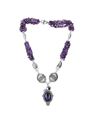 Amethyst Necklace With Sterling Silver Beads