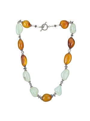 Designer Bitone Chalcedony Beaded Necklace