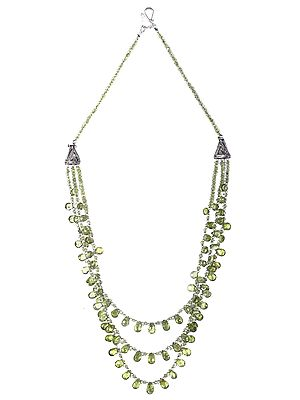 Peridot Stone Necklace with Sterling Silver