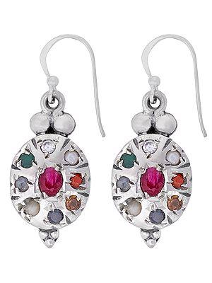 Sterling Silver Earrings with Navagraha Gemstones