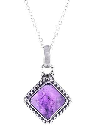 Precious Gemstone Framed in Sterling Silver Pendant