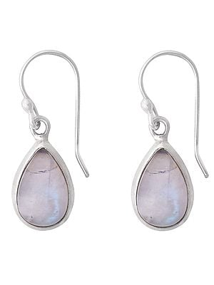 Sterling Silver Earrings with Rainbow Moonstone