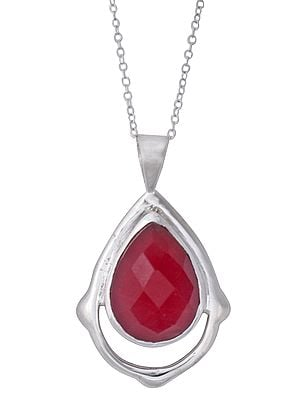 Faceted Gemstone Studded Sterling Silver Pendant