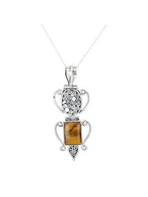 Sterling Silver Long Pendant with a Rectangular Tiger-Eye Stone