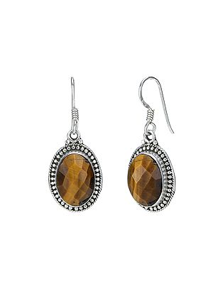 Sterling Silver Earrings with Faceted Tiger Eye Stone