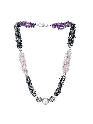Sterling Silver Necklace with Amethyst, Gun Metal and Rose Quartz Stone