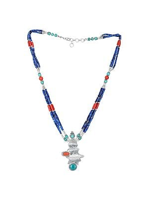 Sterling Silver Necklace with  Auspicious Turquoise, Coral and Lapis Lazuli Beads