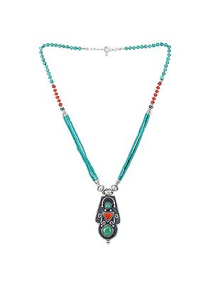 Turquoise and Coral Beaded Necklace With a Unique Pendant