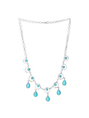 Elegant Sterling Silver Necklace with Turquoise Stones