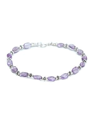 Sterling Silver Bracelet with Amethyst Beads