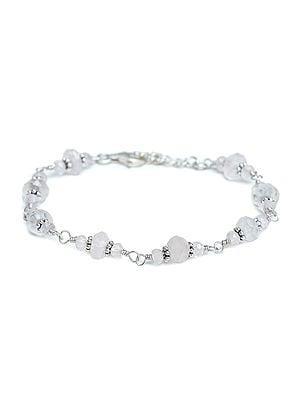 Sterling Silver Bracelet with Rose Quartz Stones