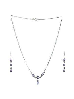 Sterling Silver Purple Bezel Stoned Necklace with Earrings Set