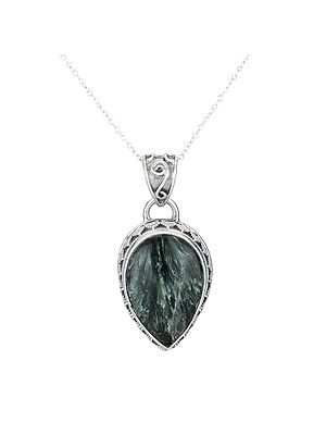 Designer Sterling Silver Pendant with Green Lace Agate Stone