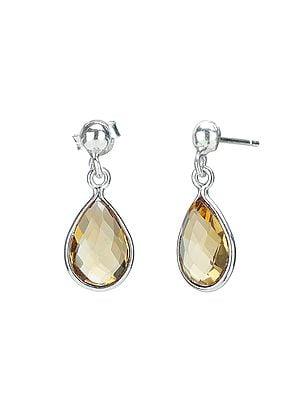 Drop-Cut Sterling Silver Earrings with Superfine Bezel Stones