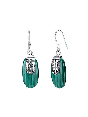 Sterling Silver Earrings with Malachite Stones