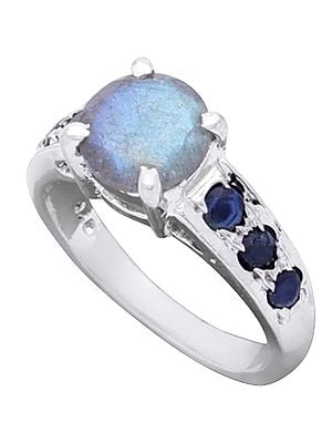 Sterling Silver Designer Ring with Gemstones