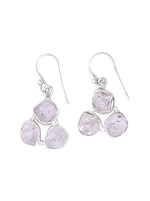Sterling Silver Earrings with Precious Rugged Gemstone