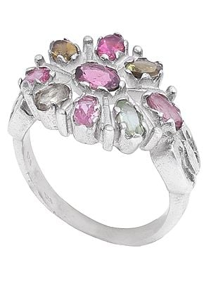 Sterling Silver Ring Studded with Multi Colour Tourmaline Stones