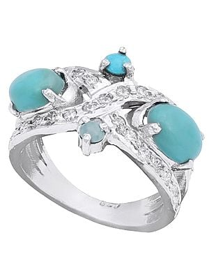 Super Fine Turquoise Stone Ring with Cubic Zirconia