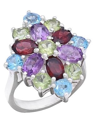 Designer Sterling Silver Ring with Peridot Garnet Amethyst and Blue Topaz