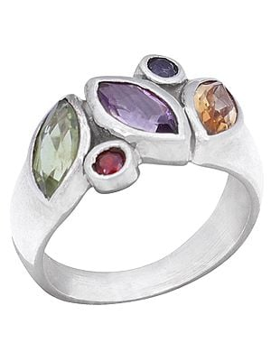 Tourmaline Studded Sterling Silver Ring